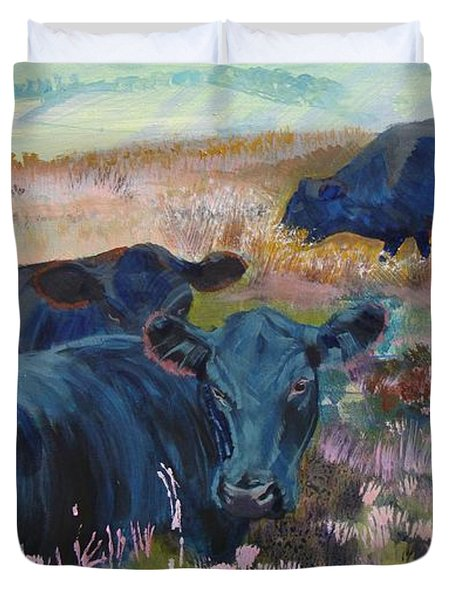 Painting Of Three Black Cows In Landscape Without Sky Duvet Cover
