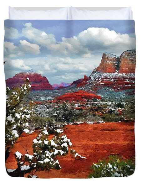 Painting Secret Mountain Wilderness Sedona Arizona Duvet Cover