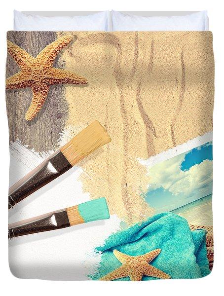 Painting Summer Postcard Duvet Cover by Amanda Elwell