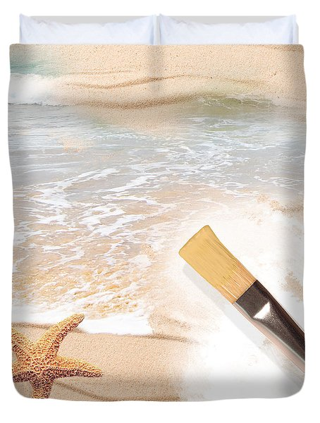 Painting The Beach Duvet Cover by Amanda Elwell