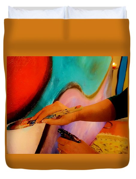 Duvet Cover featuring the painting Painting The Night Away by Lisa Kaiser