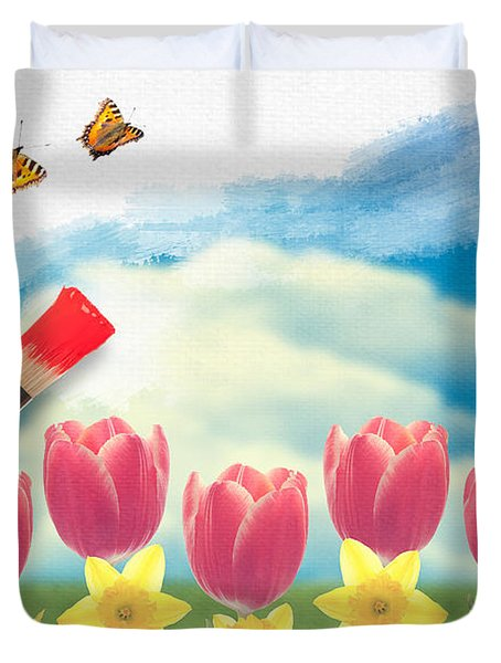 Painting Tulips Duvet Cover by Amanda Elwell