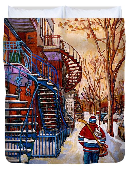 Paintings Of Montreal Beautiful Staircases In Winter Walking Home After The Game By Carole Spandau Duvet Cover