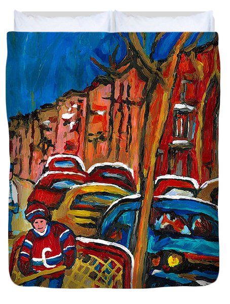 Paintings Of Montreal Hockey City Scenes Duvet Cover by Carole Spandau