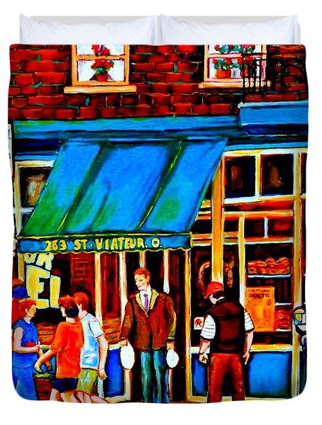 Paintings Of Montreal Memories Bagel And Bread Shop St. Viateur Boulangerie Depanneur City Scenes Duvet Cover by Carole Spandau