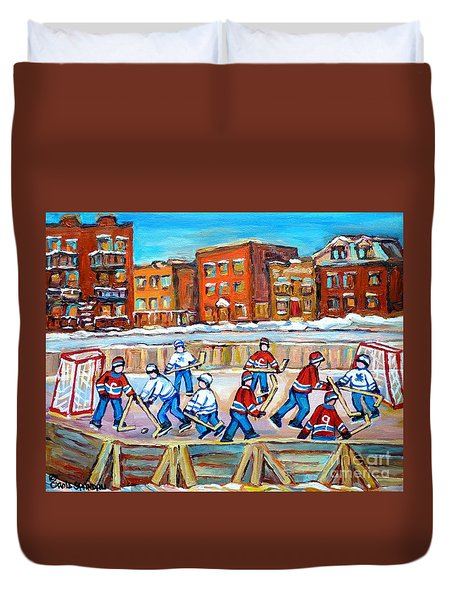 Paintings  Verdun Rink Hockey Montreal Memories Canadiens And Maple Leaf Hockey Game Carole Spandau Duvet Cover by Carole Spandau