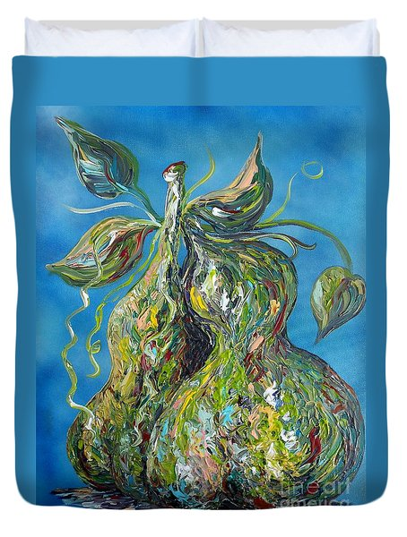 Duvet Cover featuring the painting Pair Of Pears by Eloise Schneider