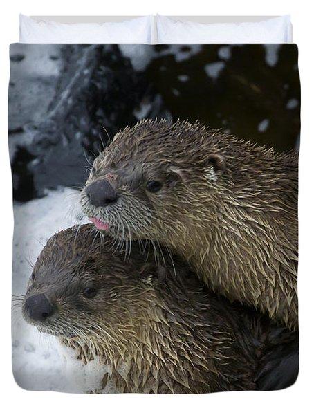 Pair Of River Otters   #1301 Duvet Cover