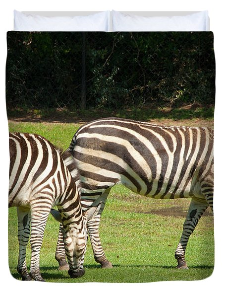 Duvet Cover featuring the photograph Pair Of Zebras by Charles Beeler