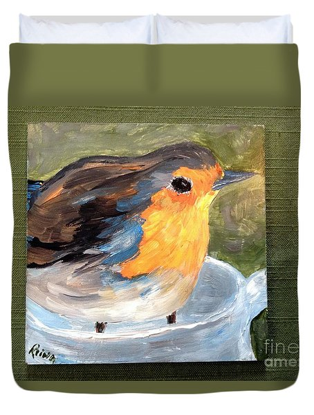 Duvet Cover featuring the painting Pajarito  by Reina Resto