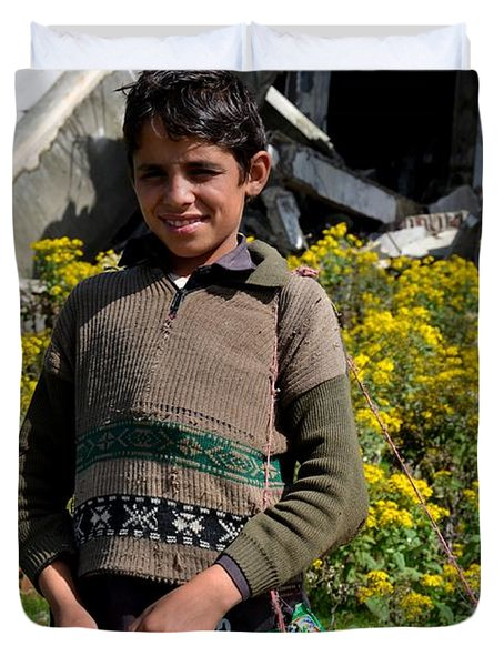 Duvet Cover featuring the photograph Pakistani Boy In Front Of Hotel Ruins In Swat Valley by Imran Ahmed