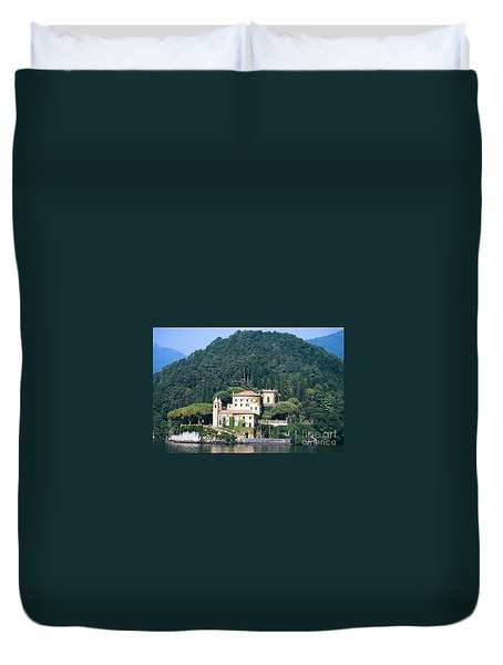 Duvet Cover featuring the photograph Palace At Lake Como Italy by Greta Corens