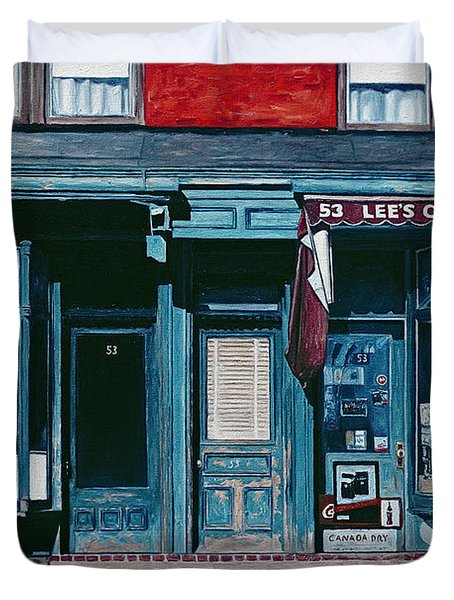 Palace Barber Shop And Lees Candy Store Duvet Cover by Anthony Butera