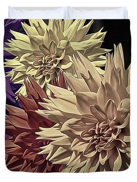 Pale Dahlias Duvet Cover