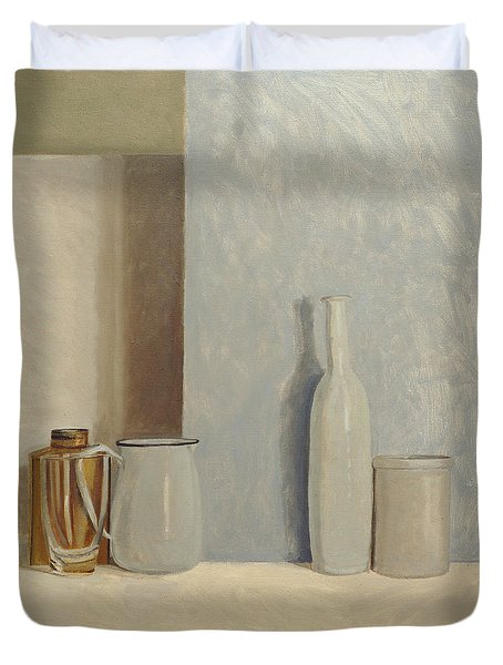 Pale Grey And Blue  Duvet Cover by William Packer