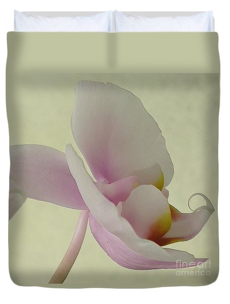 Pale Orchid On Cream Duvet Cover by Barbie Corbett-Newmin