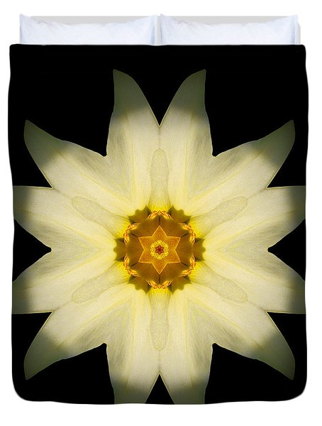 Pale Yellow Daffodil Flower Mandala Duvet Cover