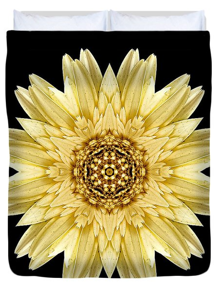 Pale Yellow Gerbera Daisy I Flower Mandala Duvet Cover