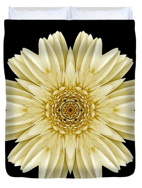 Pale Yellow Gerbera Daisy IIi Flower Mandala Duvet Cover