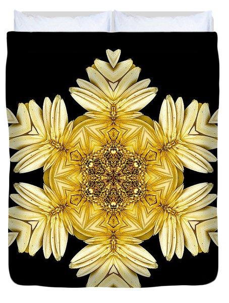 Duvet Cover featuring the photograph Pale Yellow Gerbera Daisy Vii Flower Mandalaflower Mandala by David J Bookbinder