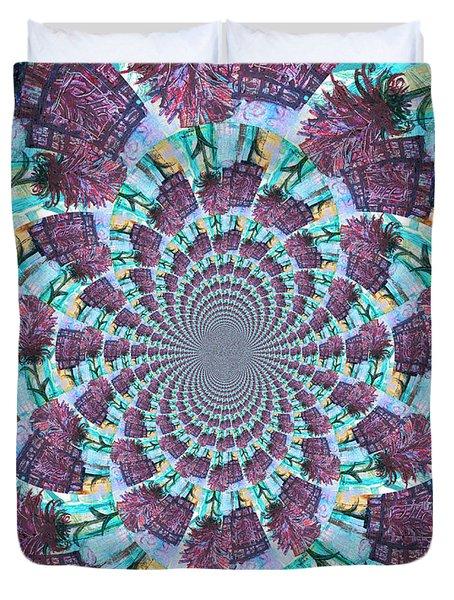 Palette Knife Flowers Kaleidoscope Mandela Duvet Cover by Genevieve Esson
