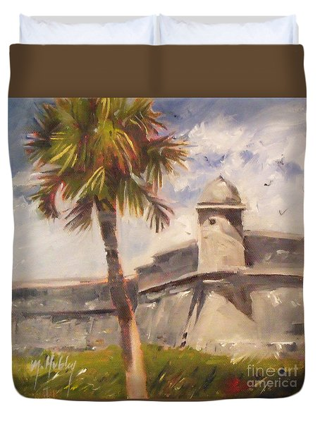 Palm At St. Augustine Castillo Fort Duvet Cover by Mary Hubley