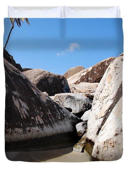 Palm At The Baths Virgin Islands Duvet Cover