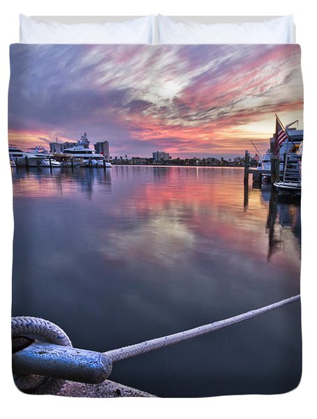 Palm Beach Harbor Duvet Cover by Debra and Dave Vanderlaan