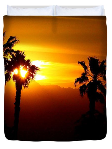 Palm Desert Sunset Duvet Cover