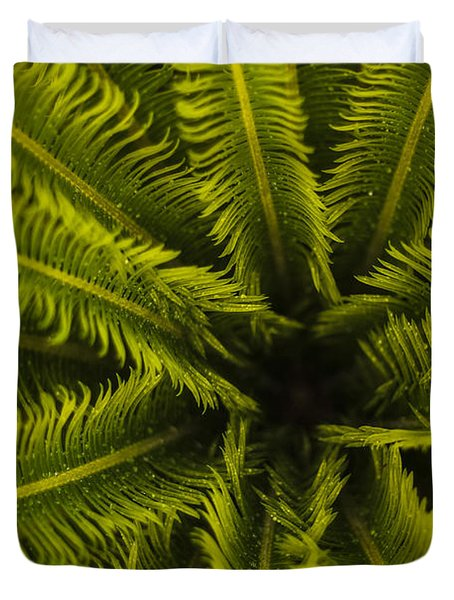 Duvet Cover featuring the photograph Palm Fronds by Amber Kresge