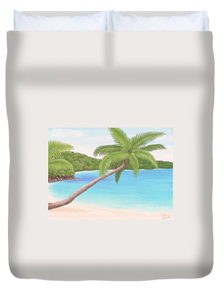 Palm In Paradise Duvet Cover