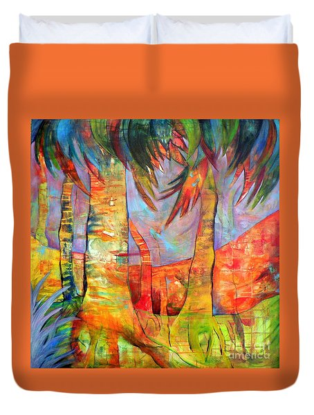 Duvet Cover featuring the painting Palm Jungle by Elizabeth Fontaine-Barr
