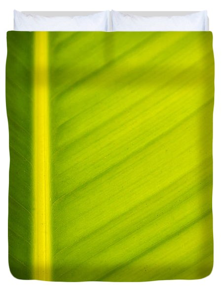Palm Leaf Macro Abstract Duvet Cover by Adam Romanowicz