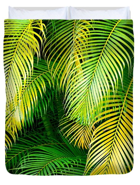 Palm Leaves In Green And Gold Duvet Cover