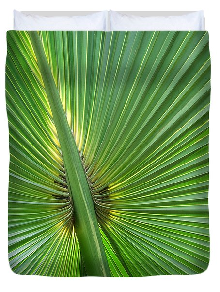 Duvet Cover featuring the photograph Palm Love by Roselynne Broussard