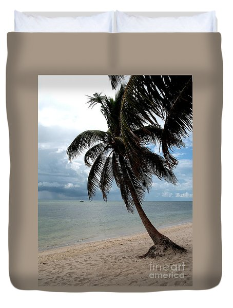 Palm On The Beach Duvet Cover by Christiane Schulze Art And Photography