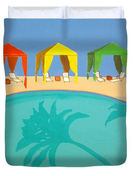 Palm Shadow Cabanas Duvet Cover