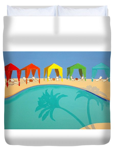 Palm Shadow Cabanas Duvet Cover by Karyn Robinson