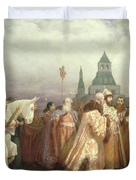 Palm Sunday Procession Under The Reign Of Tsar Alexis Romanov Duvet Cover by Viatcheslav Grigorievitch Schwarz