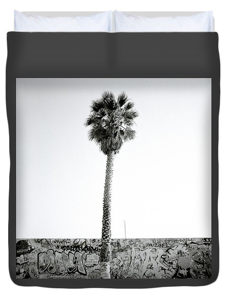 Palm Tree And Graffiti Duvet Cover