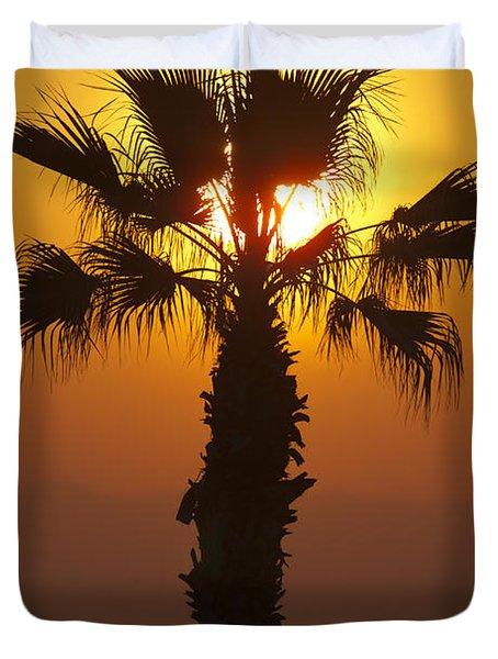 Palm Tree At Sunset Duvet Cover