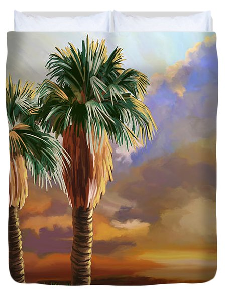 Duvet Cover featuring the painting Palm Tree Cabo Sunset by Tim Gilliland