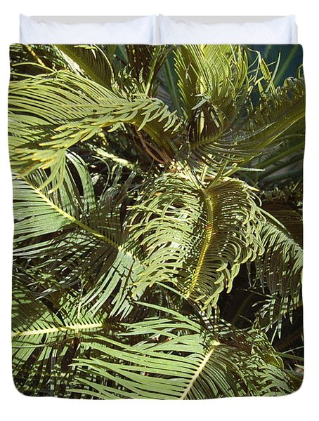 Palm Tree In Wind Duvet Cover