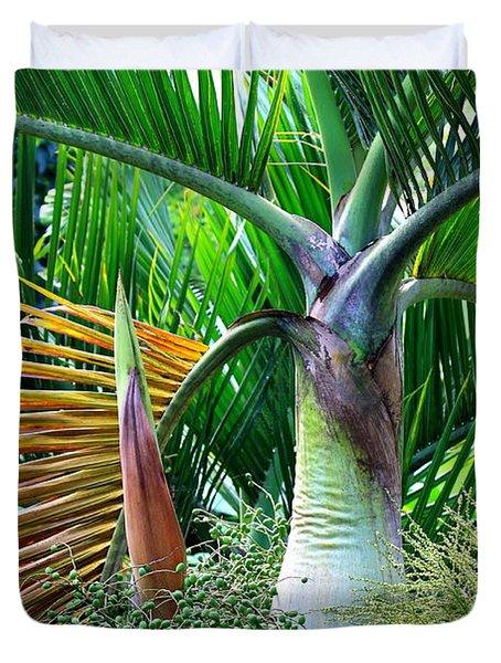 Palm Tree Inflorescence In The Rainforest  Duvet Cover by Karon Melillo DeVega