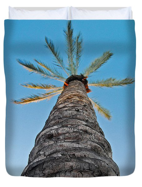 Duvet Cover featuring the photograph Palm Tree Looking Up by Maggy Marsh