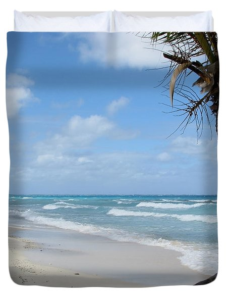 Palm Tree On The Beach Duvet Cover
