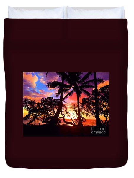 Duvet Cover featuring the photograph Palm Tree Silhouette by Kristine Merc