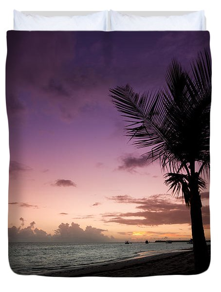 Palm Tree Sunrise Duvet Cover