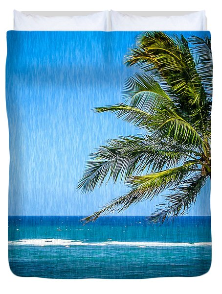 Palm Tree Swaying Duvet Cover