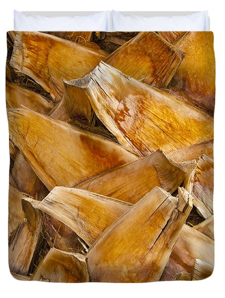 Palm Tree Trunk Detail Duvet Cover by Bob Phillips